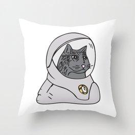 Stoic Spacecat Throw Pillow