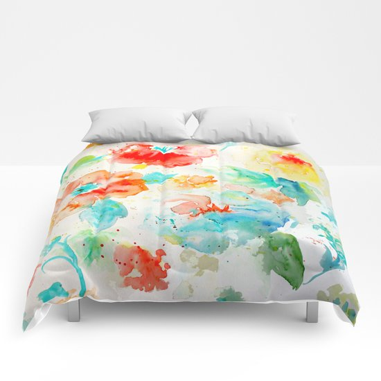 Abstract Flowers 02 Comforters