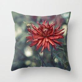 Red Dahlia No. 2 Throw Pillow