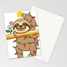 Sloth Xmas tree Stationery Cards