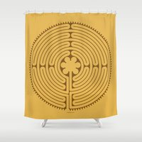 labyrinth Shower Curtains featuring Chartres Labyrinth by tuditees