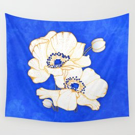 Ultramarine Blue :: Anemones Wall Tapestry