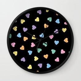 Kawaii Pastel Goth Candy Hearts Wall Clock