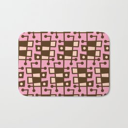 Mid Century Modern Abstract 213 Pink and Brown Bath Mat