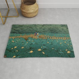 Vintage Japanese Woodblock Print Kawase Hasui Japanese Children Lotus Flowers Garden Wooden Bridge Rug