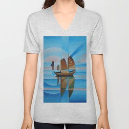 Soft Skies, Cerulean Seas and Cubist Junks Unisex V-Neck