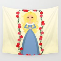 sleeping beauty Wall Tapestries featuring Sleeping Beauty by Sara Showalter