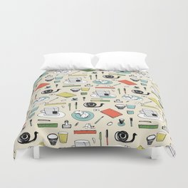 Coffee, journals and peace of mind. Duvet Cover