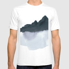 mountain scape minimal Mens Fitted Tee White MEDIUM
