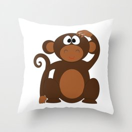Silly Monkey Throw Pillow