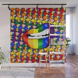 LGBTQ Rainbow Lips Snarl Wall Mural