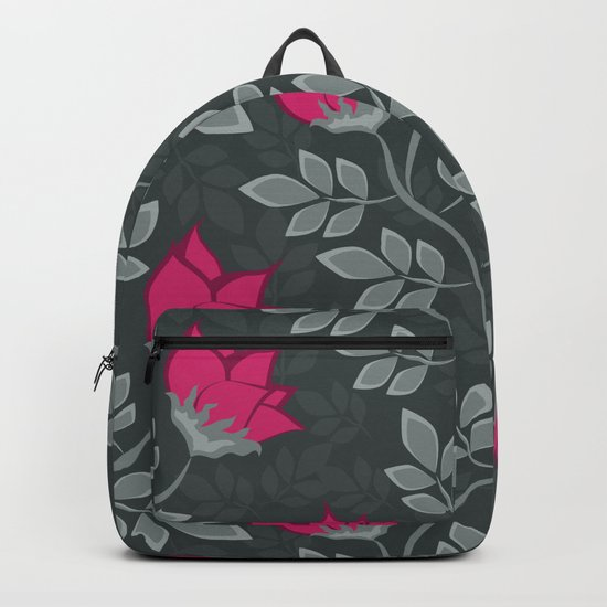 Bright pink flowers on gray Backpack
