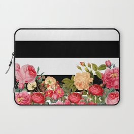 Black and White Stripe with Floral Laptop Sleeve