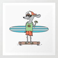 hot dog Art Prints featuring Hot Dog by parallelish
