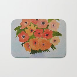 Anemone Flowers Still Life - Orange and Yellow Bath Mat