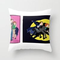 scully Throw Pillows featuring Aliens, Scully! by Anna Valle