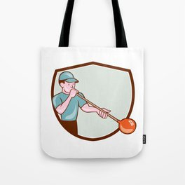 Glassblower Glassblowing Cartoon Shield Tote Bag