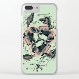 Horses and birds Clear iPhone Case