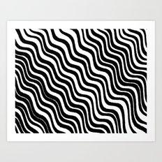 Black and White Modern Sleek Bold Minimal Minimalistic Design Pattern Hand Drawn Swirl Lines Art Print