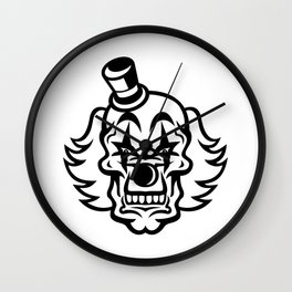 Head of Scary and Evil Whiteface Clown Skull Front View Mascot Black and White Wall Clock
