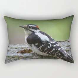 A Male Downy Woodpecker Rectangular Pillow