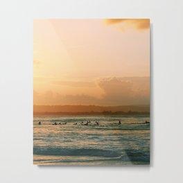 Surfing Byron Bay Sunset Surfers Metal Print