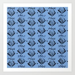 Cala Lily stamp pattern - in blue Art Print