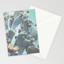 Green Flowering Cacti Stationery Cards