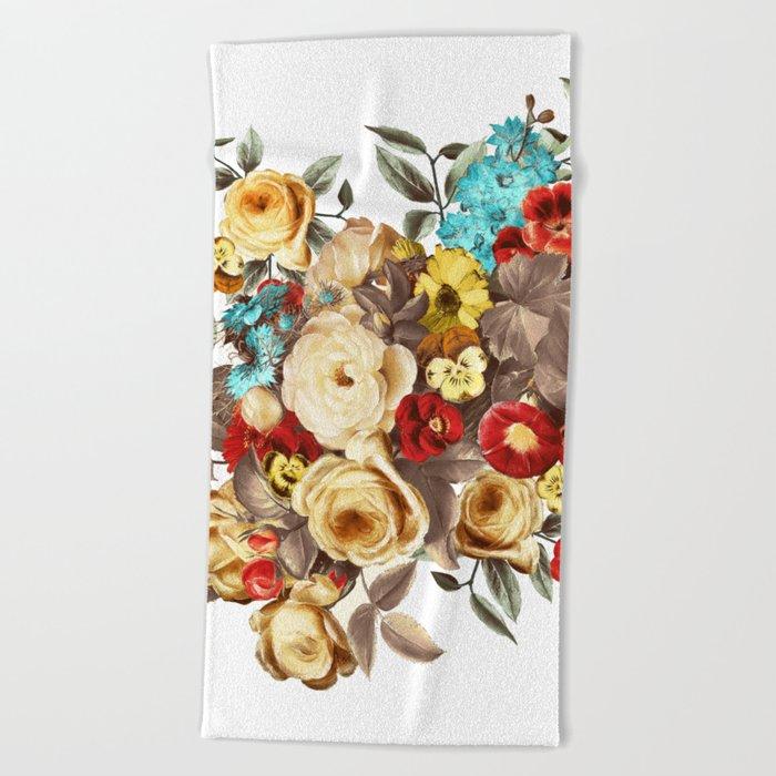 Watercolors Floral Pattern Beach Towel