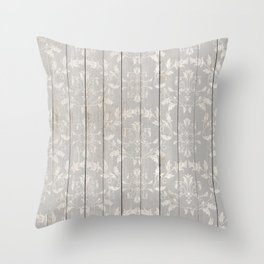 Rustic Ornamental Wood Throw Pillow