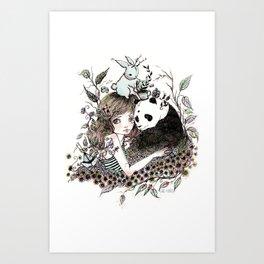 Panda Tea Art Print