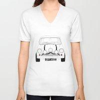 mini cooper V-neck T-shirts featuring The Italian Job White Mini Cooper by Martin Lucas