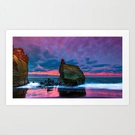 Big Boulder On Shoreline At Beautiful Dusk Violet Hue High Resolution Art Print