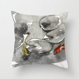 Sumie No.8 koi Throw Pillow