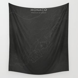 Silver Monaco City Map Wall Tapestry