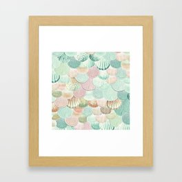 MERMAID SHELLS - MINT & ROSEGOLD Framed Art Print