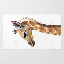 Giraffe Watercolor Cute Baby Animals Rug