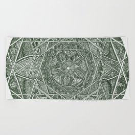 Milkweed Mandala | Green Beach Towel