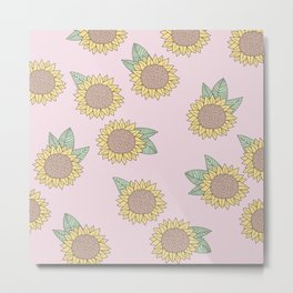 Sunflower autumn garden botanical blossom pattern pink girls Metal Print
