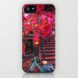 New York City Brooklyn Bicycle and Autumn Foliage iPhone Case