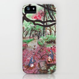 Penguins In Love on Garden Path iPhone Case