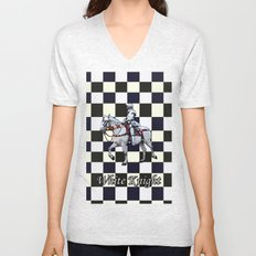 Knight on white horse with Chess board Unisex V-Neck