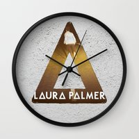 laura palmer Wall Clocks featuring Bastille #1 Laura Palmer by Thafrayer
