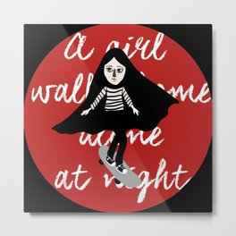A girl walks home alone at night  Metal Print