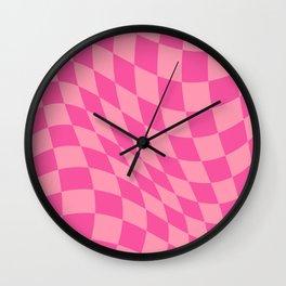 Warped Check Fuchsia Wall Clock
