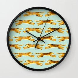 leaping tigers- mint Wall Clock