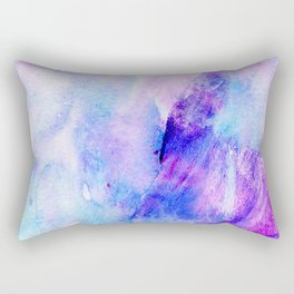 Hand painted blush pink teal blue watercolor brushstrokes Rectangular Pillow