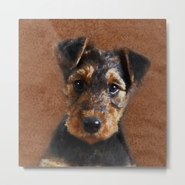 Airedale Terrier Puppy Digital Art Metal Print