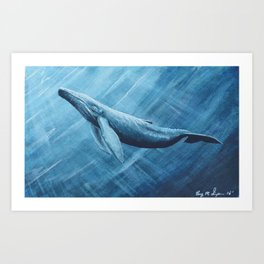 Watercolor Whale Art Print