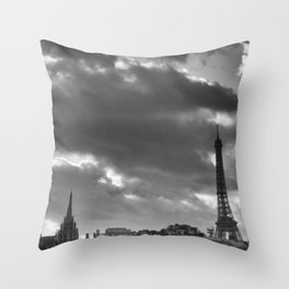 Eiffel tower under the clouds Throw Pillow